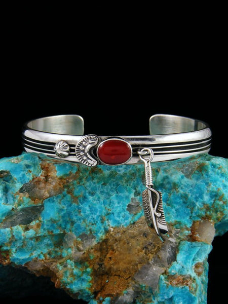 Native American Coral Sterling Silver Cuff Bracelet