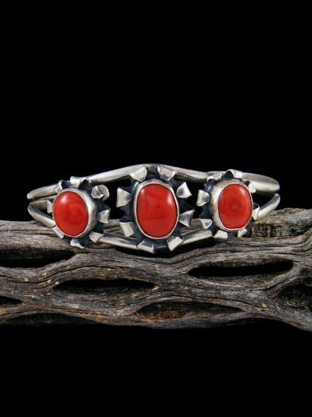 Native American Natural Coral Sterling Silver Cuff Bracelet