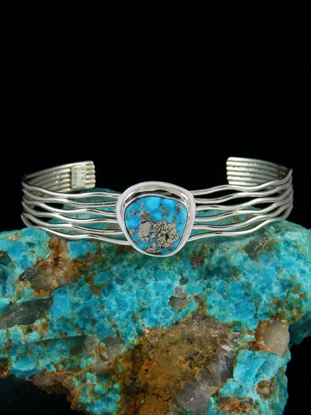 Native American Sterling Silver White Water Turquoise Cuff Bracelet