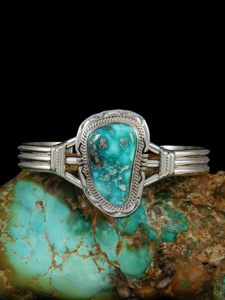 Navajo Sterling Silver White Water Turquoise Cuff Bracelet
