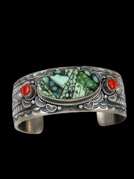 Native American Sterling Silver Cornrow Inlay Bracelet