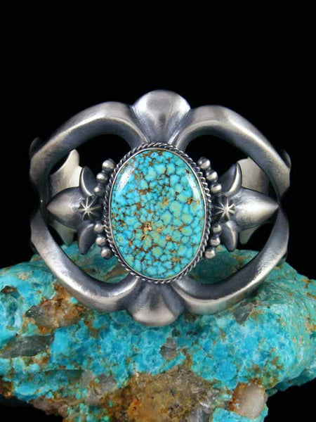 Navajo Natural Kingman Turquoise Sterling Silver Cuff Bracelet