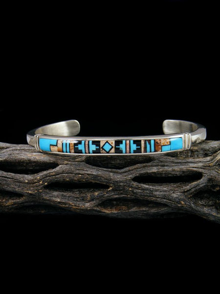 Native American Indian  Inlay Cuff Bracelet