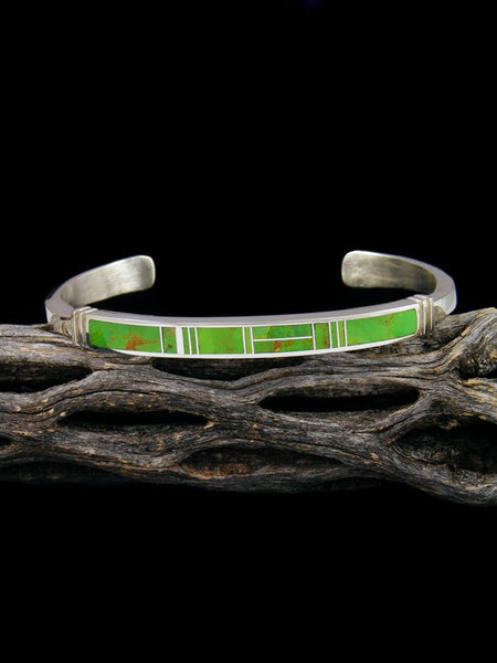 Native American Indian Gaspeite Inlay Cuff Bracelet