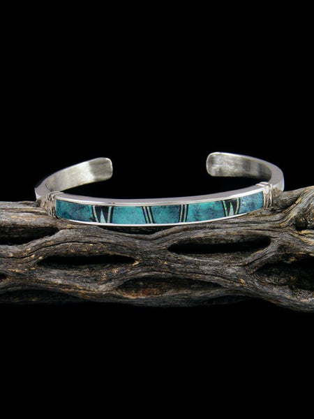 Native American Indian Turquoise Inlay Cuff Bracelet