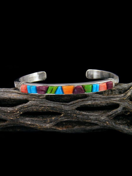 Native American Indian Multi Stone Cobblestone Inlay Cuff Bracelet