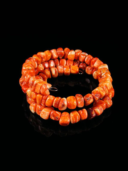 Native American Orange Spiny Oyster Bead Wrap Bracelet