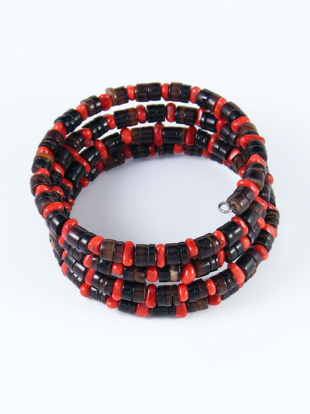 Native American Coral and Penn Shell Wrap Bracelet
