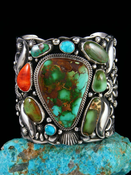 Native American Sterling Silver Royston Turquoise Picasso Bracelet