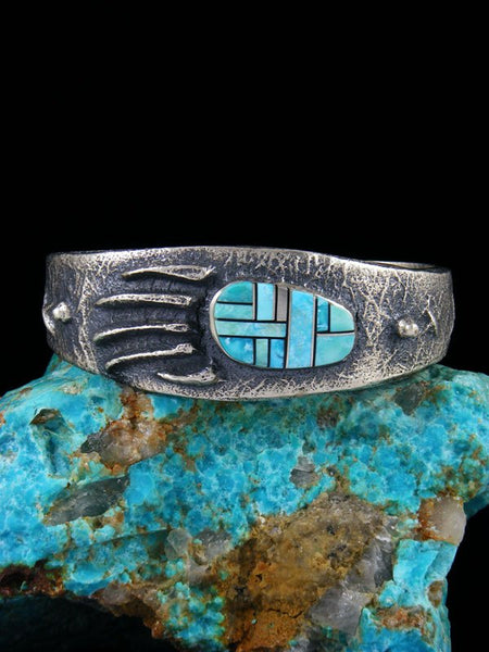 Native American Tufa Cast Turquoise Inlay Bear Claw Bracelet