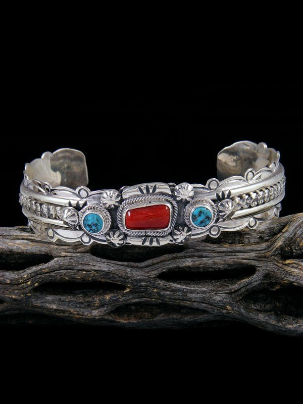 Navajo Sterling Silver Turquoise and Coral Cuff Bracelet