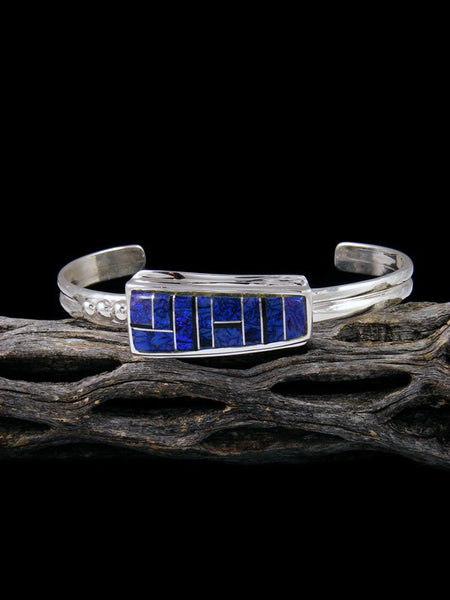 Native American Sterling Silver Monarch Opal Inlay Cuff Bracelet