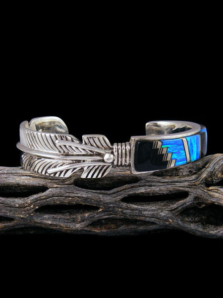 Native American Sterling Silver Onyx and Opalite Inlay Cuff Bracelet