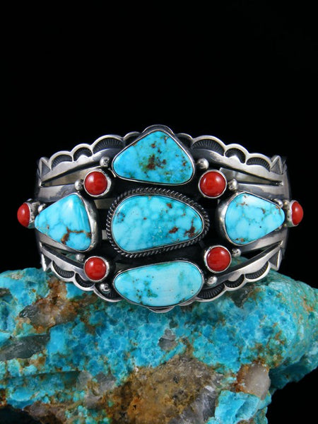 Native American Kingman Turquoise and Coral Cuff Bracelet