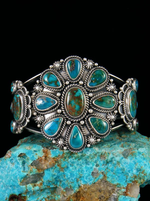 Native American Sterling Silver Blue Gem Turquoise Cuff Bracelet