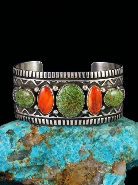 Native American Sterling Silver Sonoran Gold Turquoise and Spiny Oyster Cuff Bracelet