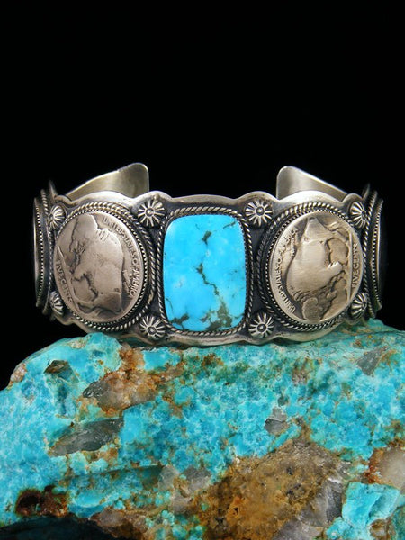 Native American Jewelry Turquoise and Buffalo Nickel Cuff Bracelet