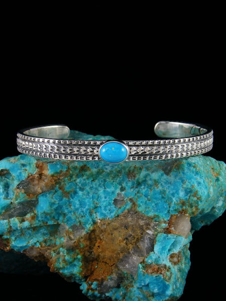 Large Native American Sterling Silver Sleeping Beauty Turquoise Bracelet