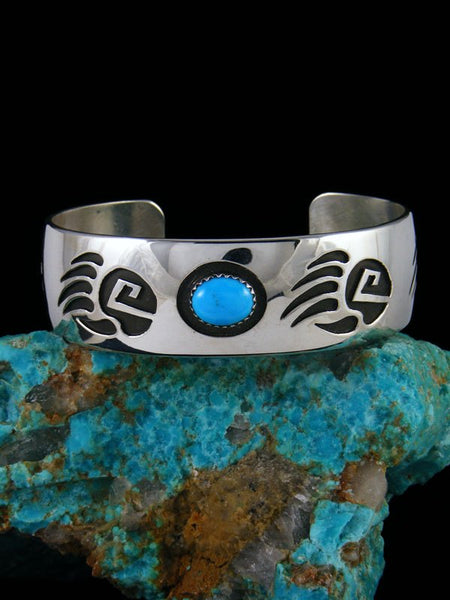 Native American Sterling Silver Turquoise Bear Paw Bracelet