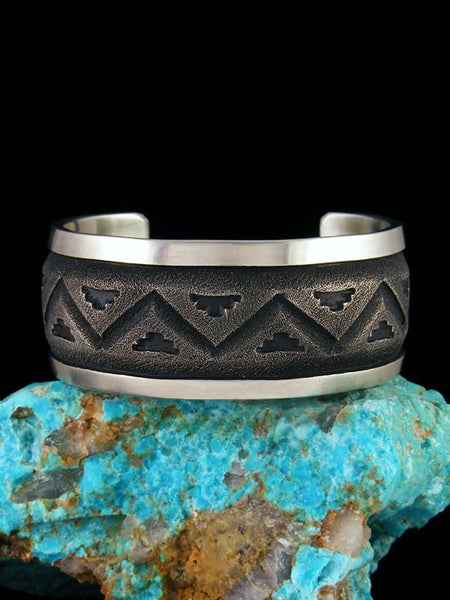 Heavy Native American Sterling Silver Textured Cuff Bracelet