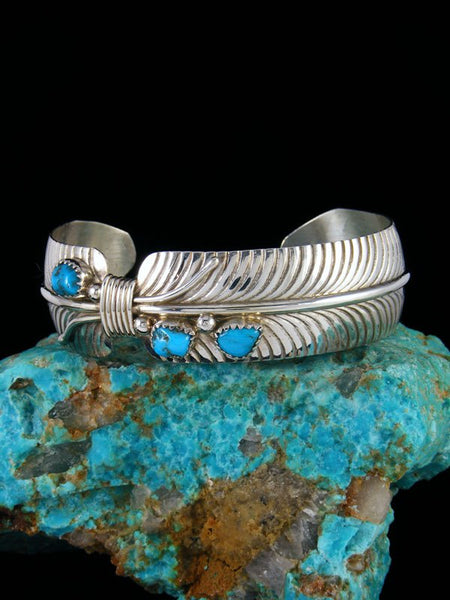 Navajo Sterling Silver and Turquoise Feather Bracelet