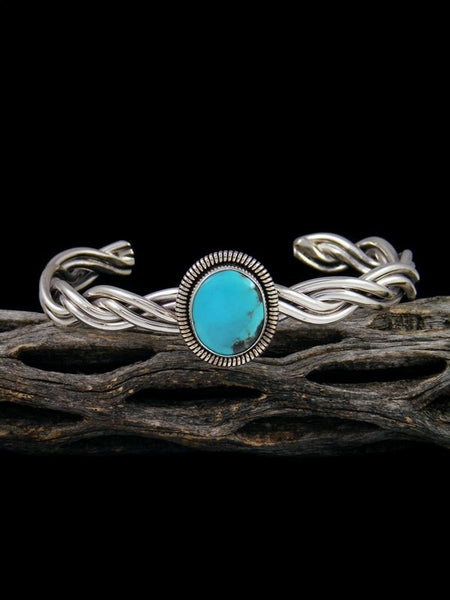 Navajo Turquoise Braided Sterling Silver Cuff Bracelet