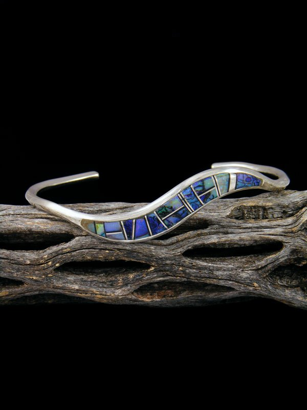 Native American Sterling Monarch Opal Inlay Cuff Bracelet