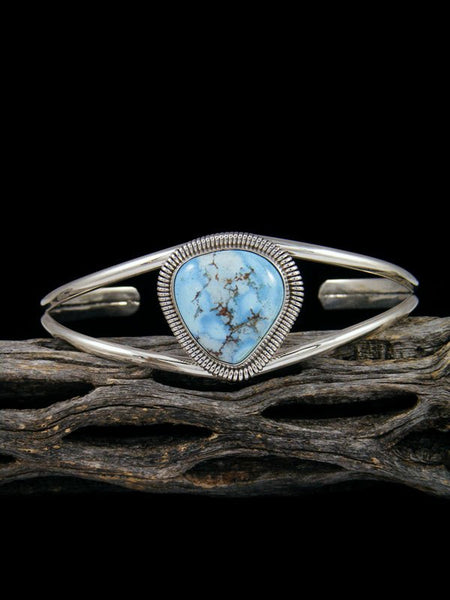 Navajo Sterling Silver Golden Hill Turquoise Cuff Bracelet
