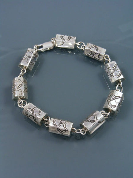 Native American Sterling Silver Barrel Bead Link Bracelet