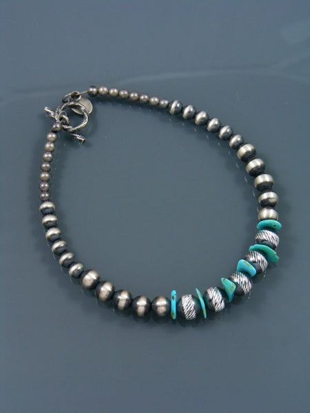 Native American Indian Jewelry Turquoise and Silver Bead Bracelet