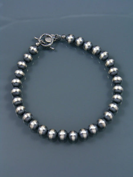 Native American Indian Jewelry Sterling Silver Bead Bracelet