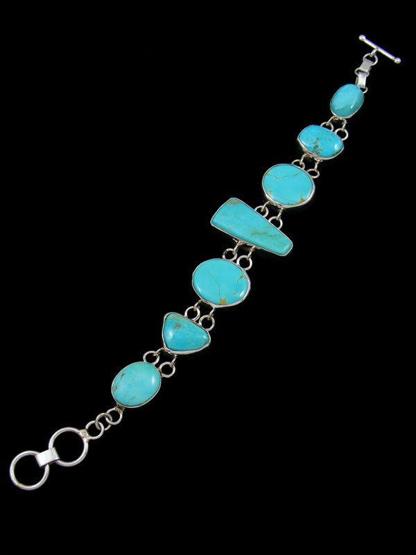 Native American Sterling Silver Turquoise Link Bracelet