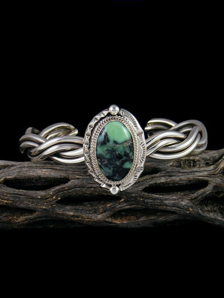 Native American Damele Variscite Twisted Sterling Silver Cuff Bracelet