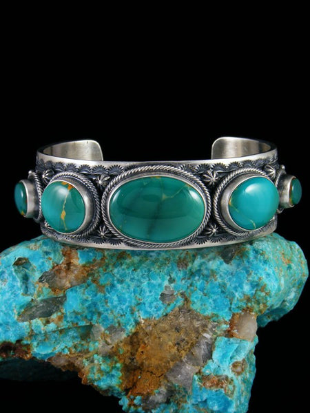 Native American Sterling Silver Natural Royston Turquoise Bracelet