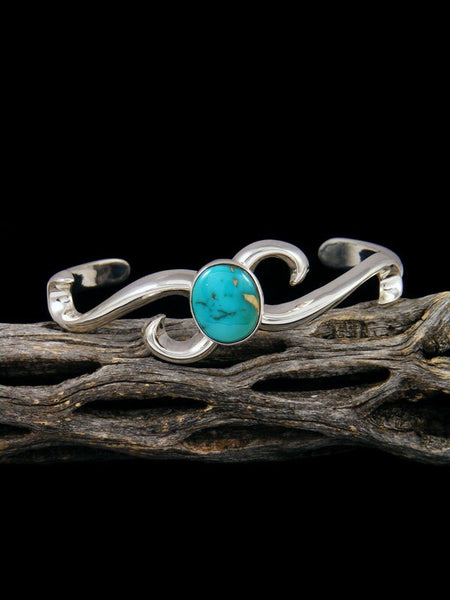 Native American Indian Kingman Turquoise Wave Bracelet