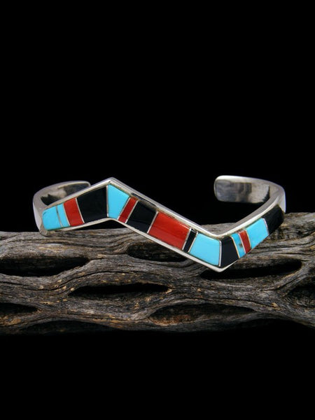 Navajo Sterling Silver Onyx and Turquoise Cuff Bracelet