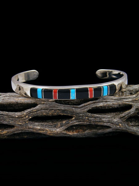 Navajo Sterling Silver Onyx and Turquoise Inlay Cuff Bracelet