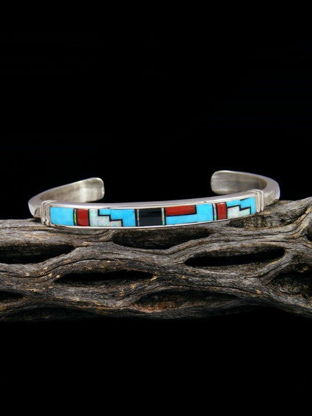 Native American Indian Coral and Turquoise Inlay Bracelet