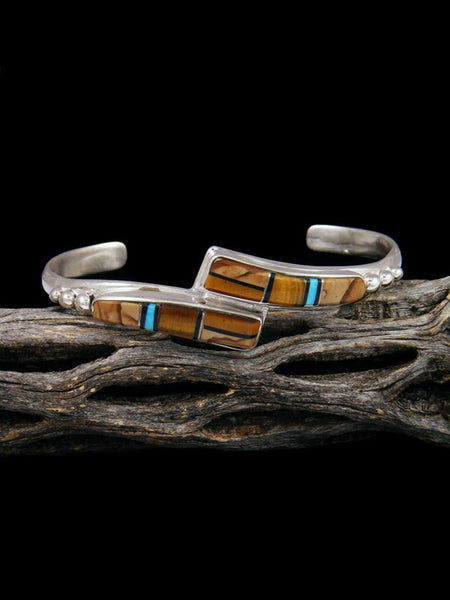 Native American Indian Inlay Tiger Eye and Jasper Bracelet