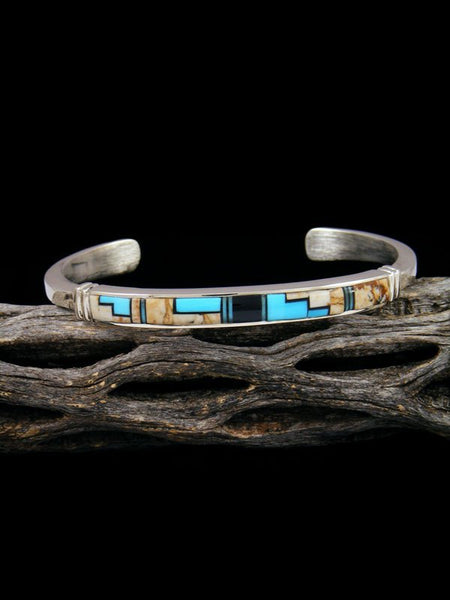 Native American Indian Inlay Turquoise and Jasper Bracelet