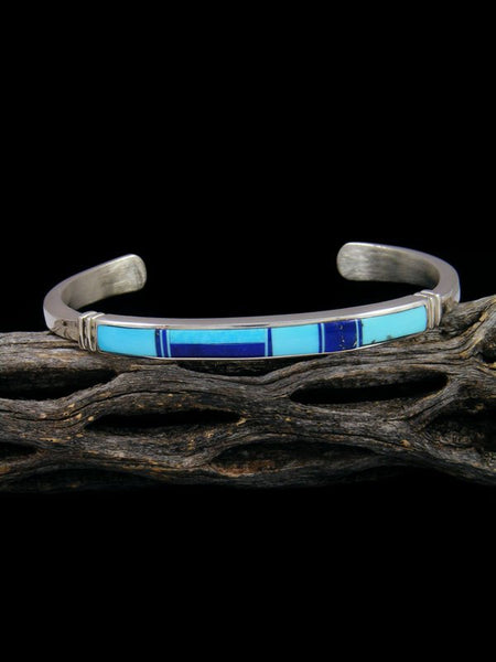 Native American Indian Lapis and Turquoise Inlay Bracelet