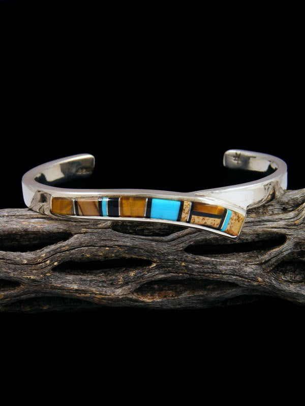Navajo Sterling Silver Turquoise and Tiger Eye Inlay Cuff Bracelet