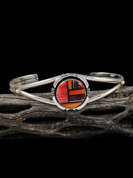 Navajo Sterling Silver Spiny Oyster Inlay Cuff Bracelet