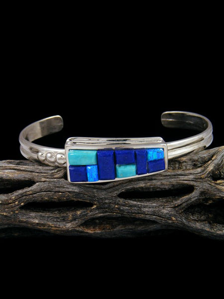 Navajo Sterling Silver Turquoise and Lapis Inlay Cuff Bracelet