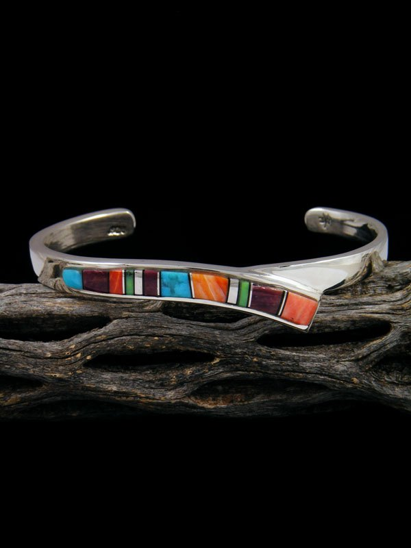 Navajo Sterling Silver Spiny Oyster and Turquoise Inlay Cuff Bracelet