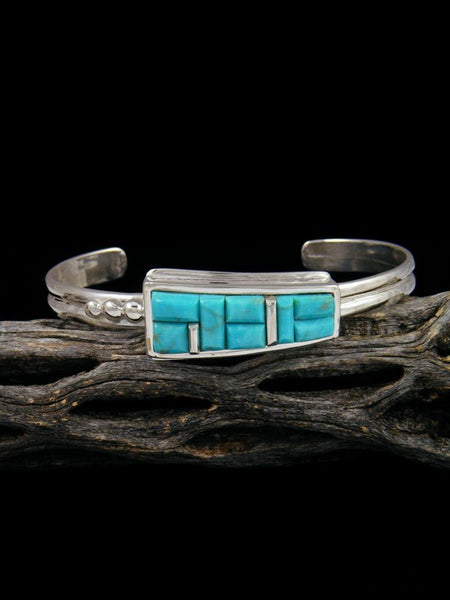 Navajo Sterling Silver Turquoise Inlay Cuff Bracelet