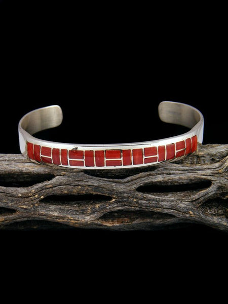 Small Native American Sterling Coral Zuni Inlay Cuff Bracelet