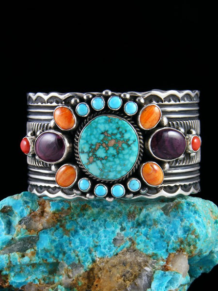 Native American Sterling Silver Spiny Oyster & Kingman Turquoise Bracelet