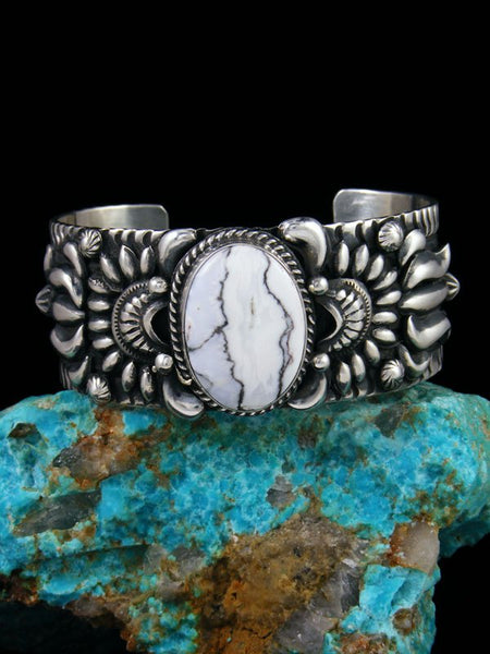 Native American Sterling Silver White Buffalo Bracelet