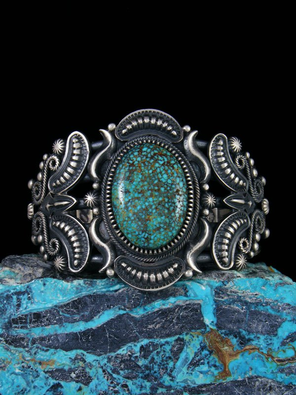 Native American Turquoise Mountain Sterling Silver Cuff Bracelet